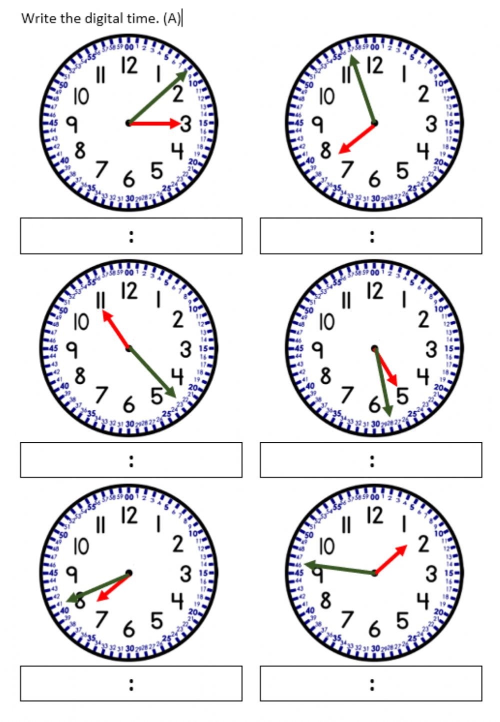 Telling time to nearest minute. worksheet