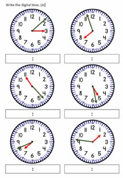 Interactive worksheet Telling time to nearest minute.