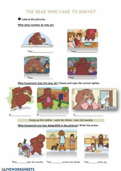 Interactive worksheet The bear who came to babysit
