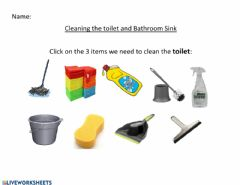Ficha interactiva Cleaning Toilet and Bathroom Sink