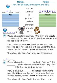 Ficha interactiva How the Beaver Got His Teeth and Tail - Past Tense Verbs 2
