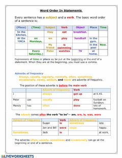 Interactive worksheet Basic Word Order