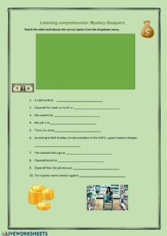 Interactive worksheet Listening: Mystery Shoppers