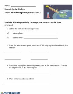 Interactive worksheet The atmosphere protects us