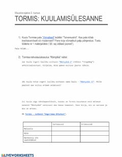 Interactive worksheet Tormis