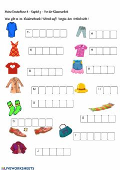 Interactive worksheet Kleidungstuecke