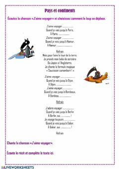 Interactive worksheet Pays et continents. Chanson