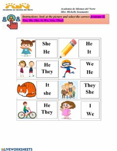 Interactive worksheet Choose the correct pronoun