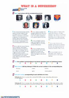 Interactive worksheet What is a hero p1
