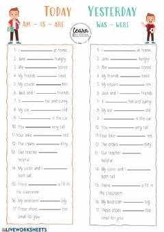 Interactive worksheet Past simple - To be