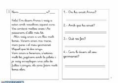 Interactive worksheet On ha anat Anna? Lectura 01