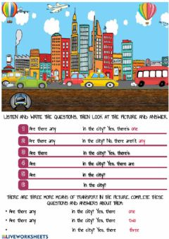 Interactive worksheet Means of transport in the city