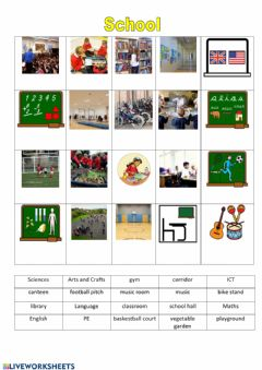 Interactive worksheet School vocabulary