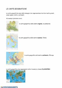 Interactive worksheet Le carte geografiche