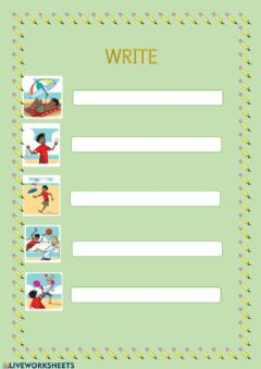 Interactive worksheet Writing. Vocabulary Unit 6: At the beach