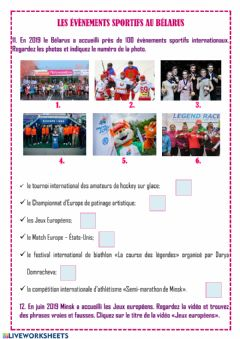 Interactive worksheet Les évènements sportifs internationaux du Bélarus