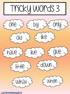 Interactive worksheet Tricky words 3