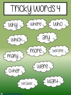 Interactive worksheet Tricky words 4