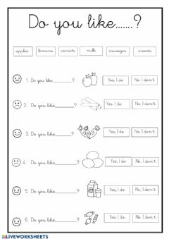 Interactive worksheet Do you like....?