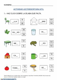Interactive worksheet Lecto S,T,L