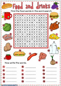 Ficha interactiva Food and drinks - word search