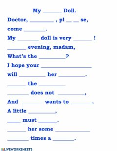 Ficha interactiva Poem MY SICK DOLL (write in the missing words)