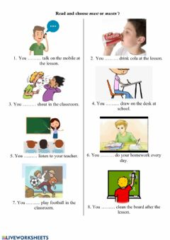 Interactive worksheet Must or mustn't for kids
