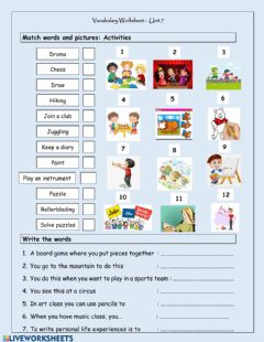 Interactive worksheet Unit 7 Vocabulary - Activities