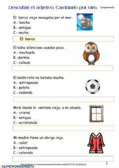 Interactive worksheet Sustituir adjetivos