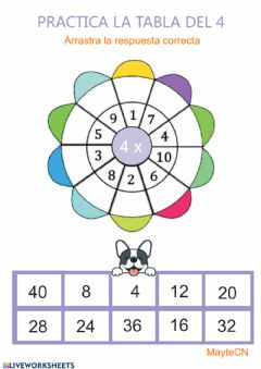 Interactive worksheet Tabla de multiplicar del 4