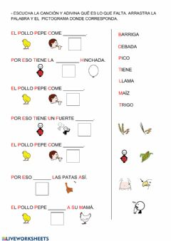 Interactive worksheet Completa las oraciones: El pollo Pepe.