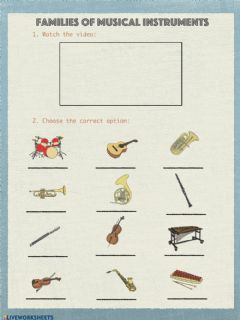 Interactive worksheet Families of musical instruments