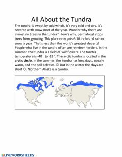 Interactive worksheet The Tundra Biome