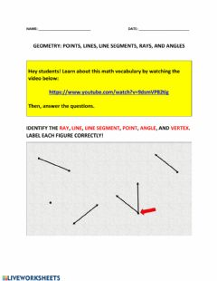 Interactive worksheet Geometry: points, lines, line segments, rays, and angles