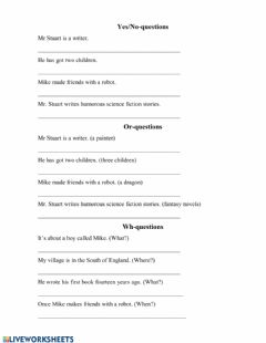 Interactive worksheet Three types of questions