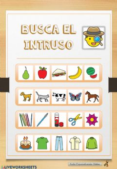 Interactive worksheet Busca el intruso