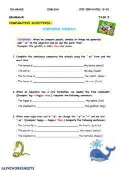 Interactive worksheet Comparing animals