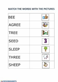 Interactive worksheet Match words with ee