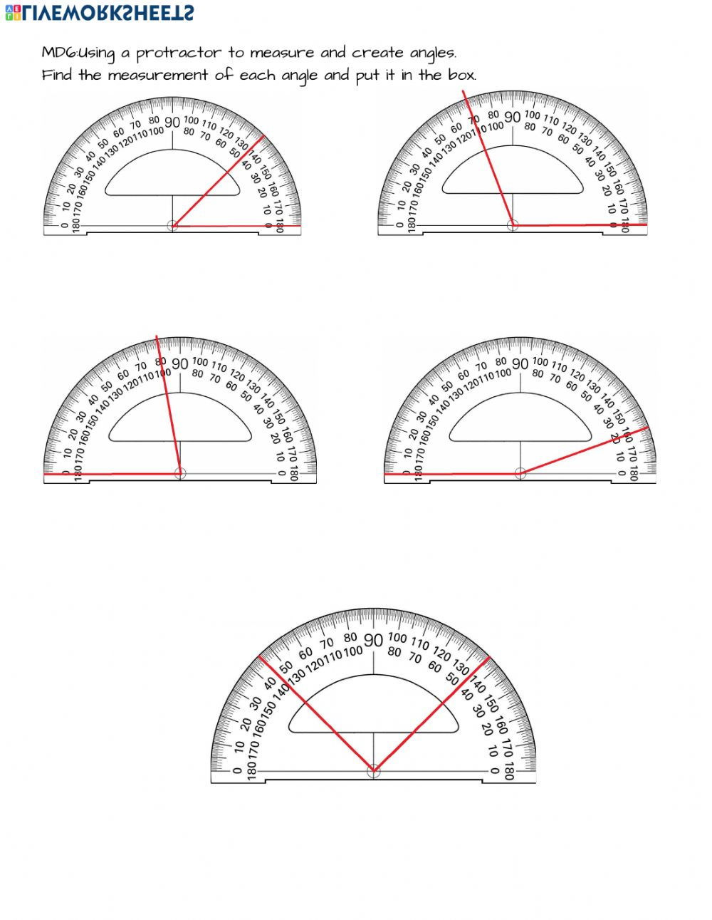 4 Md 6 Measuring Angles With A Protractor Worksheet