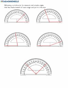 Interactive worksheet 4.MD.6 Measuring angles with a protractor