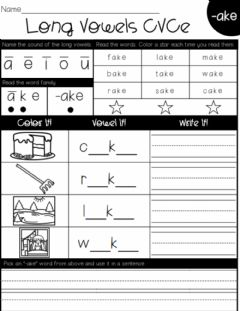 Ficha interactiva Long Vowels CVCe (-ake Words)