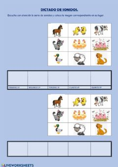 Interactive worksheet dictado sonidos 1ª