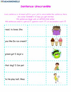 Interactive worksheet Sentence Unscramble-1