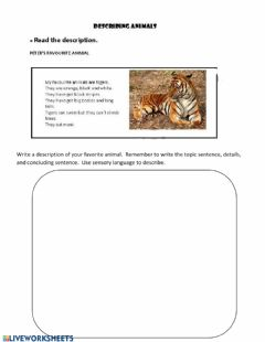 Interactive worksheet Writing a descriptive paragraph