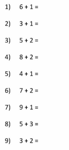 Interactive worksheet Adding to 10 numbers