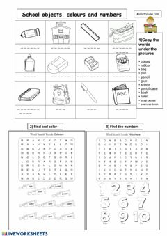 Ficha interactiva School objects-Numbers-Colors