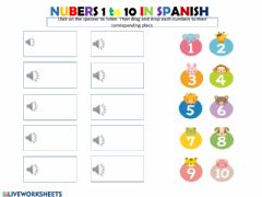 Interactive worksheet Counting from 1 to 10 in Spanish