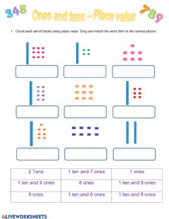 Interactive worksheet Tens and ones - Place value
