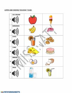 Interactive worksheet Food & drinks