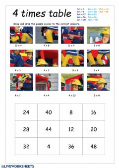 Ficha interactiva 4 Times Table